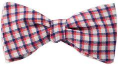 Querbinder kariert blau rot – Zena Millan – handcrafted bow ties