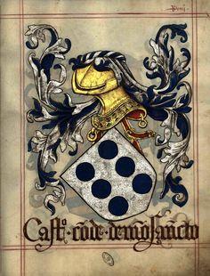 Armas de Castro conde de Monsanto, in Livro do Armeiro-Mor (fl 49r) (1509): de prata, com seis arruelas de azul. Armas dos Castro condes de Monsanto e marqueses de Cascais.