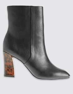 Leopard Heel Ankle Boots with Insolia®