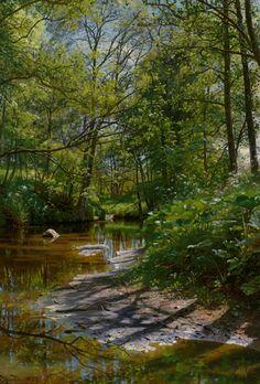 """Peder Mork Monsted (Peder Mork Mønsted) (1859-1941) A River Landscape Oil On Canvas -1897 118 x 83 cm (3' 10.46"""" x 32.68"""")"""