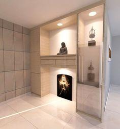 Simple n sleek altar Dream House Interior, Home Interior Design, Minimalist Design, Modern Design, Altar Design, Home Altar, Meditation Rooms, Puja Room, Cabinet Design