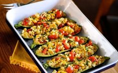 Recipe for Mediterranean Stuffed Zucchini. Zucchini stuffed with savory onion, yellow squash, ripe tomatoes and crumbled feta cheese. Makes for an impressive vegetable side dish, or two servings make a healthy vegetable entree. Vegetable Entrees, Veggie Dishes, Vegetable Side Dishes, Vegetable Recipes, Food Dishes, Vegetarian Recipes, Cooking Recipes, Healthy Recipes, Entree Recipes