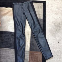 Black faux leather leggings Slim fit faux leather leggings. Great with blazer, sweater, or t shirt. Worn once. Length is 38 in, inseam is 29. H&M Pants Leggings