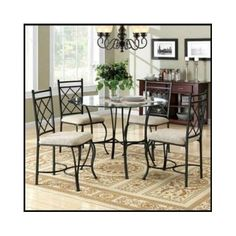 Round-Dining-Set-Room-Furniture-Glass-Table-Chairs-5-Piece-Metal-Kitchen-Modern