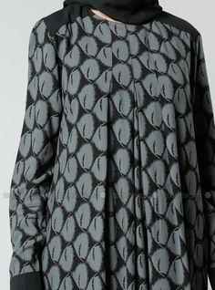 Natürel Kumaşlı Desenli Elbise - Nefti - Refka
