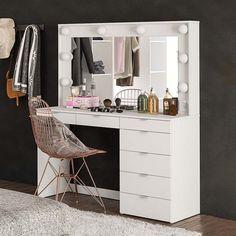 Penteadeira Camarim Las Vegas 7GV com Espelho Branco Make Up Desk Vanity, Vanity Room, Vanity Desk, Glamour Decor, Girl Room, My Room, Home Room Design, House Design, Home Bedroom