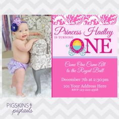 Princess First Birthday Party Invitations   from pigskinsandpigtails.com
