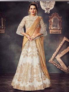 1e4a9d1e7a0b44 Off white weaved silk wedding lehenga choli