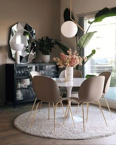 Modern Kitchen Dining Room Design and Decor Ideas kitchen dining room; rustic dining room d. Dining Room Blue, Dining Room Design, Dining Room Furniture, Kitchen Dining, Small Dining Room Tables, White Dining Table Modern, Circular Dining Table, Dark Furniture, Furniture Dolly