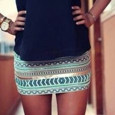 Turquoise and gold mini skirt
