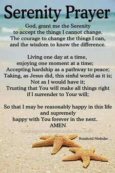 I share the Serenity Prayer with you. This prayer is common prayer for Celebrate Recovery, 12 Step Programs, and AA. Plus it is on the Christian faith-based Movie, Home Run. Prayer Verses, Bible Prayers, Faith Prayer, My Prayer, Bible Verses, Scriptures, Healing Prayer, Prayers For Healing, Prayer Of The Day
