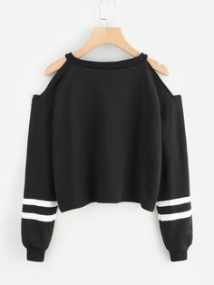 Cold Shoulder Varsity Striped SweatshirtFor Women-romwe - Sweat Shirt - Ideas of Sweat Shirt - Cold Shoulder Varsity Striped SweatshirtFor Women-romwe Teen Fashion Outfits, Outfits For Teens, Sport Outfits, Trendy Outfits, Girl Fashion, Girl Outfits, Summer Outfits, Trendy Fashion, Fashion Shoes