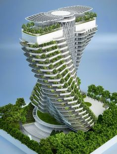 Tao Zhu Yin Yuan sustainable tower by Vincent Callebaut Architectures in Taipei, Taiwan