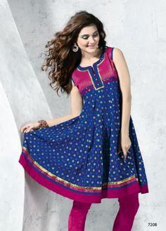 Dark Blue Colored Cotton Flair (Anarkali) Top. http://www.shreedevitextile.com/women/kurti/shreedevi-kurti/shree-devi/dark-blue-colored-cotton-top--7208
