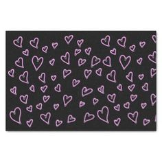 Pink Heart Pattern on a Black background Tissue Paper - cyo diy customize unique design gift idea perfect