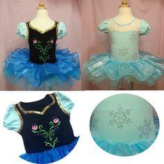 Girls Frozen Elsa Anna Ballet Tutu Dancewear Party Dress 2-8Y Kids Leotard Skirt #
