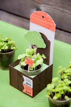 "I stated and pulled up to the seedlings and then put in my ""garden"" in small disposable shot glasses basil seeds. on request I make you like a guide, but now only used a bill of materials: Stamp sets: Hardwood, Georgeous grunge, words that do well, Banner Panter, Celebrate the Day Punching: 1 3/8 ""circle punch element tree, Elegant pendants, flags, Itty Bitty accents Colors: slate gray, espresso, Calypso, Taupe, Wasabi Green"