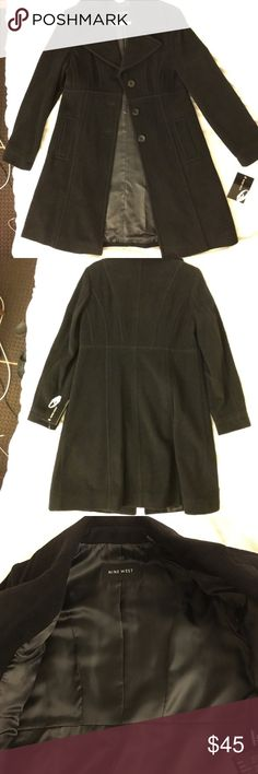 NWT Nine West black wool coat Brand new fully lined Nine West wool coat with buttons closure, length measurement from collar 37 inches, smoke free home Nine West Jackets & Coats