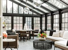 Dramatic and chic conservatory. Lighting are the Globus Pendants from Urban Electric. Beautiful Warm and Cozy Sunroom! Contemporary Interior Design, House Design, Conservatory Design, Contemporary Interior, Sunroom Designs, Modern Interior Design, Interior Design Styles, Home Decor, House Interior