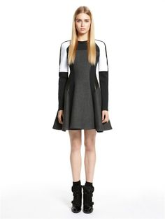 Runway Dress With Leather Trim And Neoprene Inserts - DKNY
