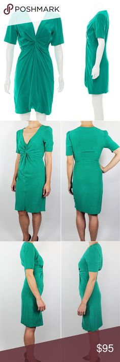 """Rebecca Minkoff Green V Neck Sheath Dress Green 0 Rebecca Minkoff Women's Dress Mini Green Faux Wrap Bodice Silk Short Slight Puff Sleeves w/ Plunging V-Neckline, gathered accented at center front and concealed zip closure at side. Unlined Retails $395 Size: 0  Shoulder: 14.5""""  Sleeves: 10""""  Pit to Pit: 17.5""""  Waist: 13""""  Hip: 17.5""""  Length: 35.5""""  Condition: Very Good! Please review pictures and contact me if you have any questions. Material: 100% Silk Country: United States Care: Dry Clean…"""