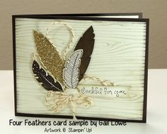Stampin Up card with Four Feathers stamp set and framelits - great neutrals with a touch of glitz