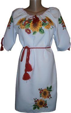 #вишиванка, сукня вишивана з квітами (Арт. 00476)