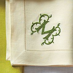 Contemporary Initial - A Guide to Monogrammed Napkins - Southern Living Embroidery Letters, Cross Stitch Embroidery, Hand Embroidery, Machine Embroidery, Embroidery Designs, Preppy Monogram, Monogram Styles, Monogram Letters, Monogrammed Napkins