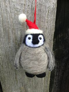 Handmade Needle Felted baby penguin Bauble Christmas Tree Ornament made from British Shetland sheep wool