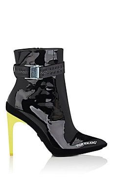 Velvet-Heel Leather Ankle Booties