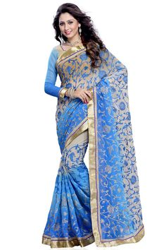 Blue and grey chiffon saree with blue and grey silk blouse with price $107.83.Embellished with embroidered, resham and zari.Saree comes with sweet heart neck blouse.It is perfect for festival wear, party wear and wedding wear.   http://www.andaazfashion.us/womens/sarees/occasion/party-wear-saree