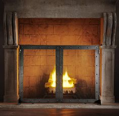 Industrial Fireplace Screen with Doors