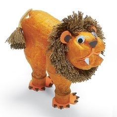 diy Friendly Lion - this cutie is made from clear plastic soda bottles