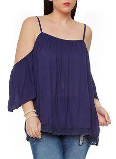 5a93167c98957 Plus-Size Crochet Trim Cold-Shoulder Blouse