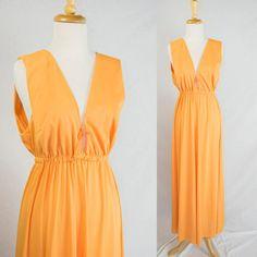 Orange Goddess Vintage 60s 70s Bombshell Nightgown Vanity Fair