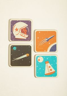It's Not Chocolate Science Coaster Set | Mod Retro Vintage Kitchen | ModCloth.com  Transform your 'once in a blue moon' gatherings into everyday delights by placing your long pour coffees and signature cocktails atop these cork coasters. Celebrating the memorable mid-century in American aeronautics with a retro images and dates, this set of four assures your aptly-prepped bevvies are the stars of your day!