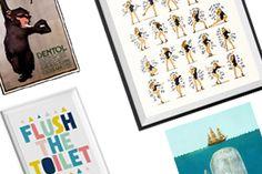 Sélection de posters et affiches pour salle de bains ! Pour enfants, girly, classiques, vintage, ou pour hommes, la salle de bain et l'art se rencontre !