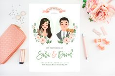 Portrait Save the date card DIY Wedding Invites Custom Illustrated Wedding Invitations, Passport Wedding Invitations, Green Wedding Invitations, Wedding Invitation Inspiration, Wedding Menu Cards, Wedding Card Design, Wedding Invitation Cards, Diy Wedding, Invites