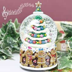 christmas tree and gingerbread man musical snowglobe by lisa angel homeware and gifts | notonthehighstreet.com