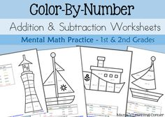 Color By Number Addition and Subtraction Worksheets - Mental Math for 1st and 2nd Graders