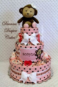 Monkeys Baby Diaper Cake in Pink and Brown Shower Centerpiece or Baby Shower Gift created by Dianna's Diaper Cakes www.diannasdiapercakes.etsy.com www.diannasdiapercakes.com