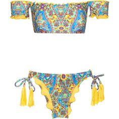 Bardot Off-shoulder Bandeau Bikini With Tassel Detail Sari Offshoulder... (£57) ❤ liked on Polyvore featuring swimwear, bikinis, bandeau swimwear, bikini two piece, bikini swim wear, bandeau bikini and tassel bikini