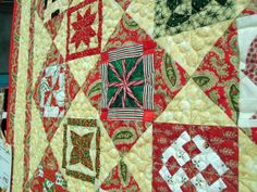 Christmas with Dear Jane; nice setting lap quilt by Christine Taylor