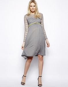 Image 4 of ASOS Maternity Exclusive Midi Dress With Lace Top And Pleated Skirt With Belt