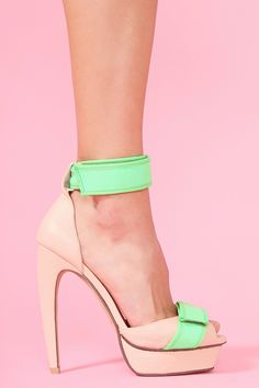 Jeffrey Campbell Nude/Neon green pumps