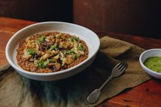 Vegan Mushroom Risotto with Smoked Eggplant and Salsa Verde — Farm to Fork Sauteed Mushrooms, Ella Vegan, Vegan Mushroom Risotto, Mushroom Stock, Vegan Recipes, Cooking Recipes, Salsa Verde, Lunches And Dinners, Vegane Rezepte