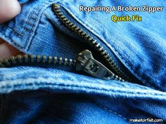 How to Quickly Repair A Broken Zipper - This looks so easy.  Wish I'd have known this when my kids were younger.