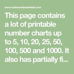 This page contains a lot of printable number charts up to 500 and It also has partially filled charts to practice numbers. Numbers Kindergarten, Kindergarten Math Worksheets, Number Worksheets, Number Chart, Printable Numbers, School Games, Writing Numbers, Writing Practice, Charts
