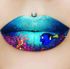 "Le lip art poisson ""Dory"" dans l'océan de Jazmina Daniel"