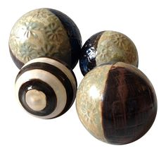 Decorative Pottery Spheres - Set of 4
